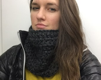 Chunky Cowl Scarf- Charcoal color