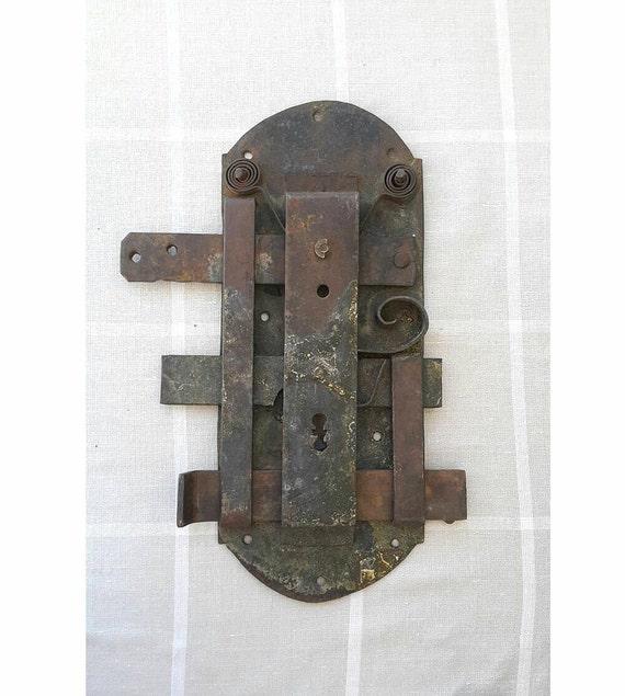 Antique door lock Hand forged iron large door latch lock Door hardware Rustic home decor Industrial Collectible Rusty Salvaged Door bolt