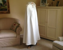 Ivory Hooded Long Bridal Cape Wedding Cape Fleece Cloak with Arm Slits,Satin Lining, RED-CARPET Style, Custom Made,Hand Made USA