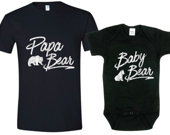 Papa Bear Baby Bear Matching T-shirt Tees Fathers Day Gift Idea Mens Infant Baby Toddler Child Kid Present Daddy to be Reveal Pregnancy