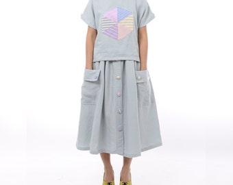 Yukio Long Skirt Grey