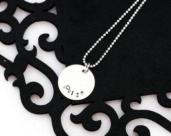 Personalized Mommy necklace, 1 disc, hand stamped name, curved