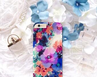 Aquarelle de fleurs colorée de rose peint housse coque pour iPhone 7 Plus, 6 s 6, 5 5 s 5c, 4 4 s, Galaxy S7 S6 S5 S4, J5, A5, Note 4, note 5