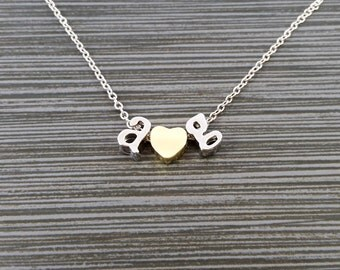 Silver Initial Necklace - Gold Tone Heart Necklace - Personalized Necklace - Letter Necklace - Layering Necklace - Valentines Day Necklace