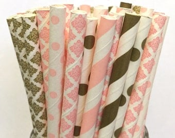2.85 US Shipping -Pink & Gold Paper Straws - Gold and Pink Straws - Cake Pop Sticks - Drinking Straws -Blush Pink, Light Pink