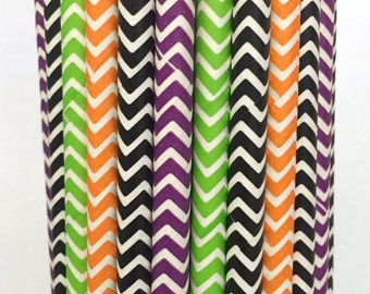 2.85 US Shipping -Halloween Paper Straws- Halloween Straws - Halloween Cake Pop Sticks - Drinking Straws - Orange and Black