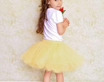 Girls Yellow tutu, Girls Tulle Skirt, Girls tutu, Newborn tutu, Newborn photos, Sewn waistband, Yellow skirt