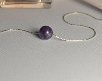 Amethyst NECKLACE // Tiny Silver Necklace - Ball Necklace - Dot Necklace - Drop Necklace - Single Bead Necklace - Circle Necklace