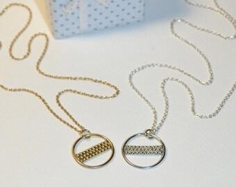 Circle Necklace // Charm Necklace Gold - Circle Jewelry - Circle Drop Necklace - Pendant Necklace - Tiny Necklace - Gem Necklace