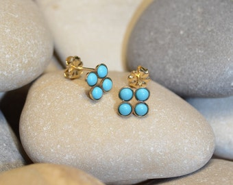 3mm Turquoise STUD EARRINGS Gold // 20g Cartilage Earrings - Turquoise Post Earings - Cartilage Stud - Helix Earring - Conch Piercing