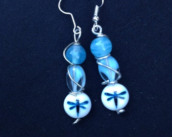 Dragonfly and Blue Bead Dangle
