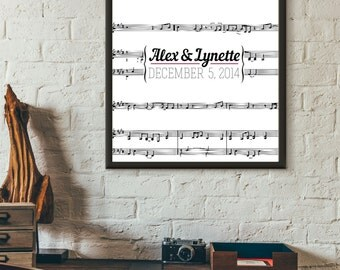Personalized Wedding Print - Music Note Design - Customizable Digital Printable