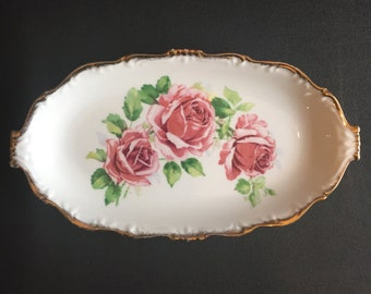 "Queen Anne ""Lady Margaret"" Pink Rose Vintage Serving Dish, Pickle Dish, Trinket Tray."