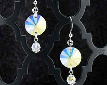 Icy White/Aqua/Gold Pinwheel Earrings - E2659