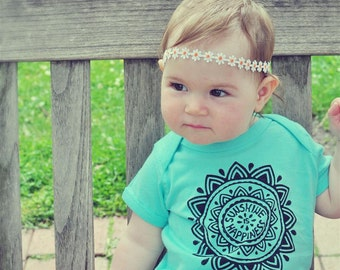 Sunshine Baby bodysuit, Sun Mandala jumpsuit, Mint Hippie baby outfit, Bohemian baby outfit, Unisex baby gift, Baby sunshine, Hipster baby