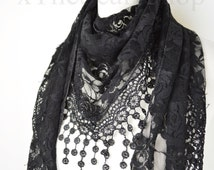Black Lace Triangle Rose Design Scarf, Teardrop,Pretty Scarf, Lace Scarf, Neck Scarf, Teen Gift,Ladies Gift, Formal Scarf, Wedding, Party