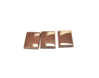 Goldstone signets three pieces per lot of 10x8 mm rectangle.