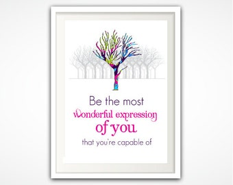 Inspiring Quote Print - Marianne Williamson Quote Print - INSTANT Download Printable Wonderful Expression of You Tree Poster PDF