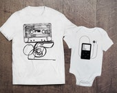 Cool Adult Onesie Set- Cassette and Ipod Set- Father Son Matching Shirts- Dad and Baby Sets- Mom and Baby Sets- Mother Daughter Set