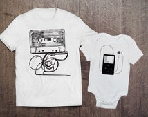 Cool Adult Onesie Set- Cassette and Ipod Set- Father Son Matching Shirts- Dad and Baby Sets- Mom and Baby Sets- Mother Daughter Set- BU96