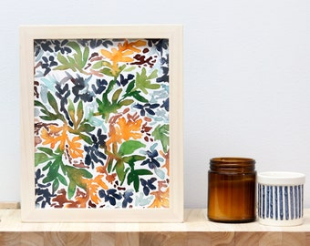 Earthy Foliage Watercolor Print, Signed Archival Fine Art Giclee