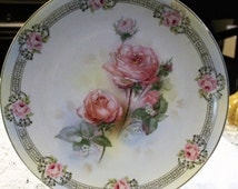 """Antique ~~~Early 1900's Beyer and Bock Prussian Royal Rudolstadt ~~~~Hand Painted Pink Rose Serving Platter 13"""" ~~~~Early 1900's"""