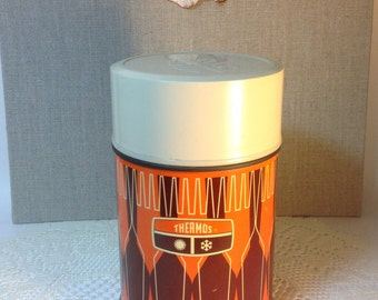 Vintage Orange Brown and Beige Thermos 10 oz size Shabby Home Decor
