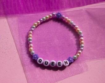 QUEEN ~ pastel rainbow pearlescent queen bracelet