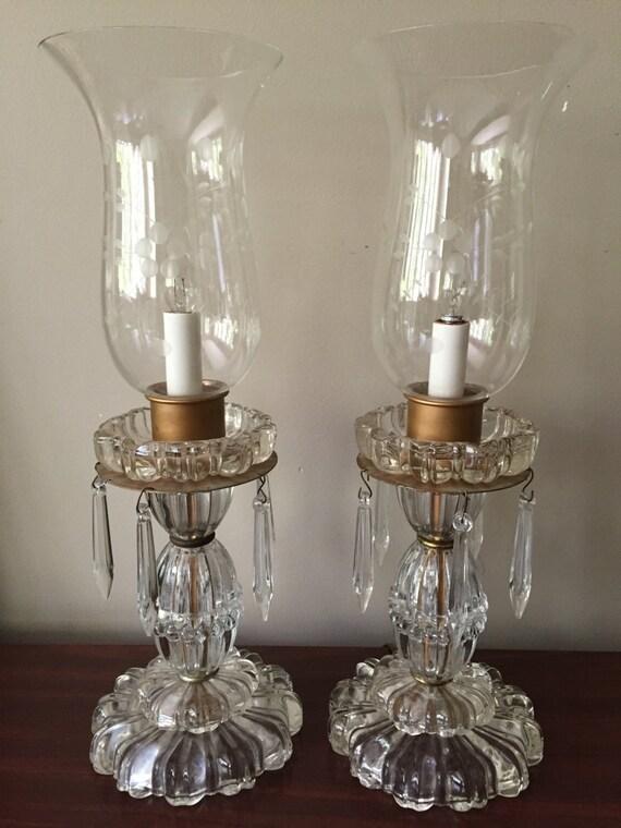 Vintage Crystal Lamps 1 Pair Buffet Or Boudoir Electric