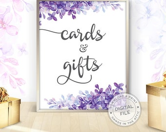 Wedding signs download for gift table, Cards and gifts, floral wedding signs ideas, purple and lilac wedding, DIGITAL download