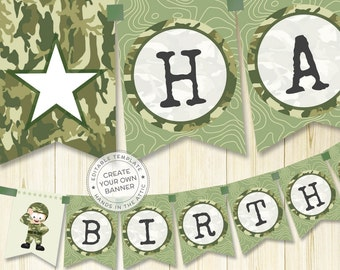 Name garland, army party banner, camo decoration, printable template, DIY banner, military party props, camo party supplies, DIGITAL file