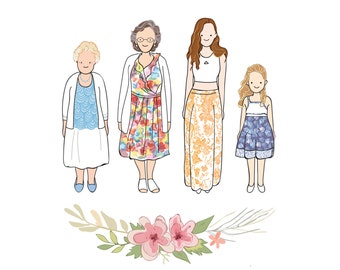 Custom Portrait illustration, Mothers Day, from daughter, 4 generations, birthday gift, mother gift ideas