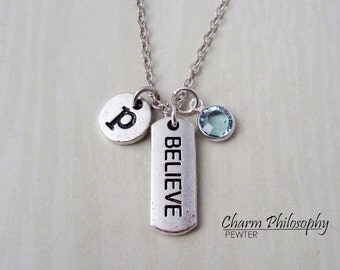 Believe Necklace - Monogram Personalized Initial and Birthstone - Antique Silver Jewelry - Believe Charm