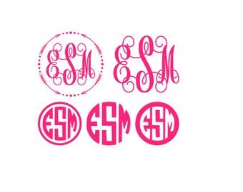 Monogram Decal Set - Vinyl Decal Set - Monogram Set - Vine Circle font - Monogram Stickers - Monogram Sticker Set - Monogram Bundle