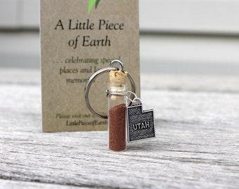 Utah Soil Key Chain w/Metal Utah Charm, Glass Vial Dirt, Utah Souvenir, Dirt Memento, Earth Memories, Soil Collectible