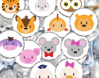 Baby Animals Labels for Hershey® Kisses, Mouse Hershey Kiss Labels Baby Shower, Duck Kiss Candy Labels, Owl Stickers for Hershey Kisses