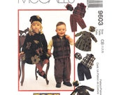 Toddler Sewing Pattern McCalls 9603 Empire Dress, Zipper Vest, Pants, Hat Pattern Girls & Boys Unisex Size 1 2 3 UNCUT