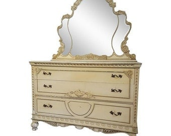 Stunning  Antique Victorian Dresser and Mirror - Beautiful Detailed Vintage Dresser - Custom Paint Available!