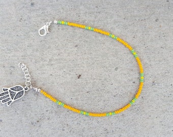 Orange Seed Bead Anklet, Hamsa charm, thin anklet, small beaded anklet, simple minimal anklet, seed bead anklet, orange small bead anklet