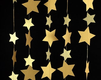 Gold Star Garland - Gold Garland, Wedding Garland, Gold Decor, Birthday Garland, Gold Party Decorations, Gold Decorations - GS005-2-4