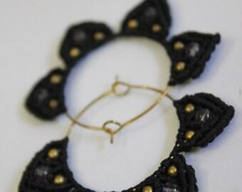 Brown/Black/Cream Micro Macrame Petal Hoop Earring Set with Amethyst & Brass Beads