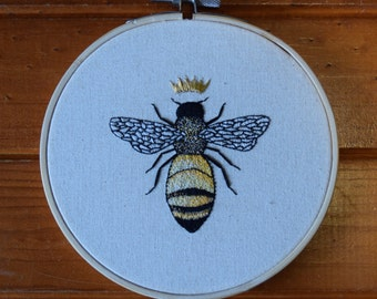 Queen Bee Embroidery Hoop