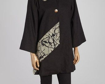 Omni Jacket Black & Taupe Abstract Jacket- Style #FA13-4003-B