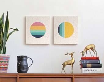 Sun & Moon, canvas prints, canvas art, scandinavian art, modern art, geometric wall art, mid century modern art, circle, modern sun, sunset
