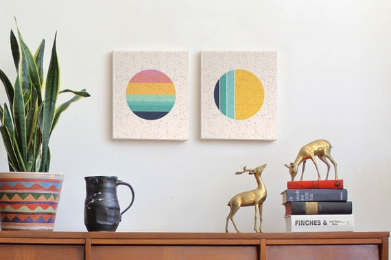SUN & MOON pair (2) canvas wall art
