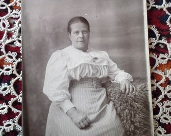 Vintage black and white  photo from the early last century- Studio photo of a lady-  Post card photograph- Paper craft supply