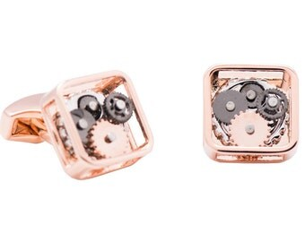 Steampunk Gear Cufflinks Square Copper (SP139)