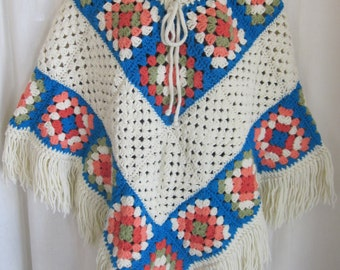 Vintage Hand Knit Multi-Color Boho Hippie Poncho Shawl One Size