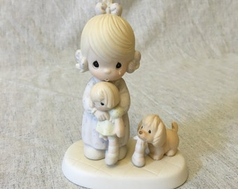 Vintage Precious Moments Figurine, Somethings Missing When Your Not Around 1988