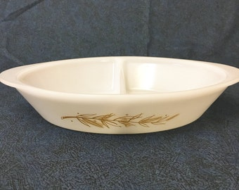 Vintage Glasbake J 2352 Oval Divided Casserole Dish with Wheat Pattern